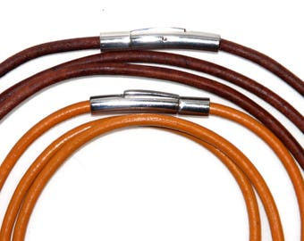 Leather cord necklace, 3mm, red/brown  or goldenrod yellow with stainless steel snap clasp
