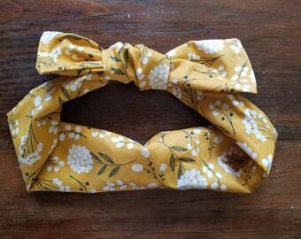 Mustard yellow floral fabric tie headband d1dcb004110