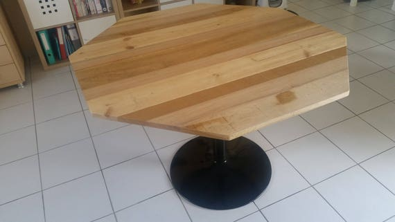Octagonal Table Wood Recycled Sterling 3 Different Species Etsy
