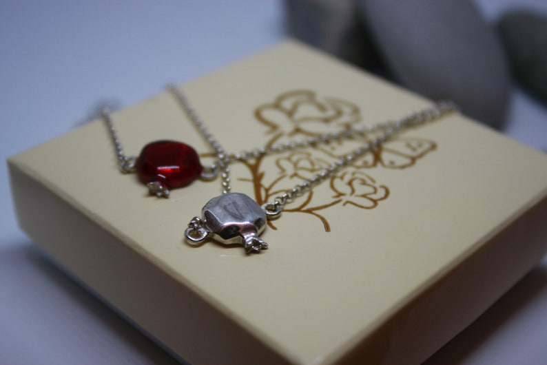gift for her Armenian jewelry silver sterling with red color pomegranate pendant biblical jewelry Pomegranate bracelet Armenian gifts