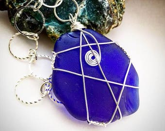 Example only of rare cobalt blue sea glass pendant. Something similar made to order after PM.