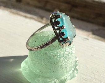 EXAMPLE of Turquoise Seaglass and sterling silver ring