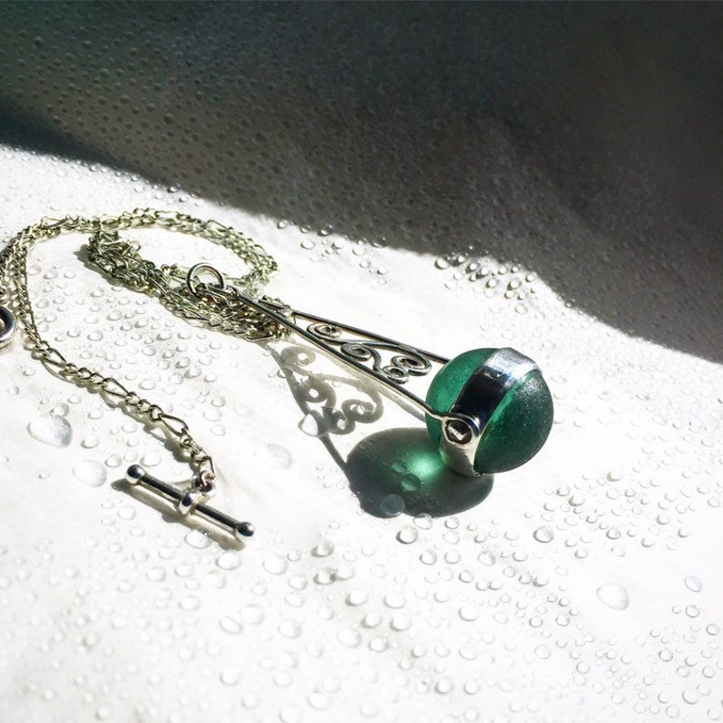 Custom made Genuine seaglass marble and sterling silver spinner pendant and chain