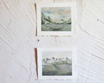 Set of 2  Peacefully Landscapes - Original Watercolor