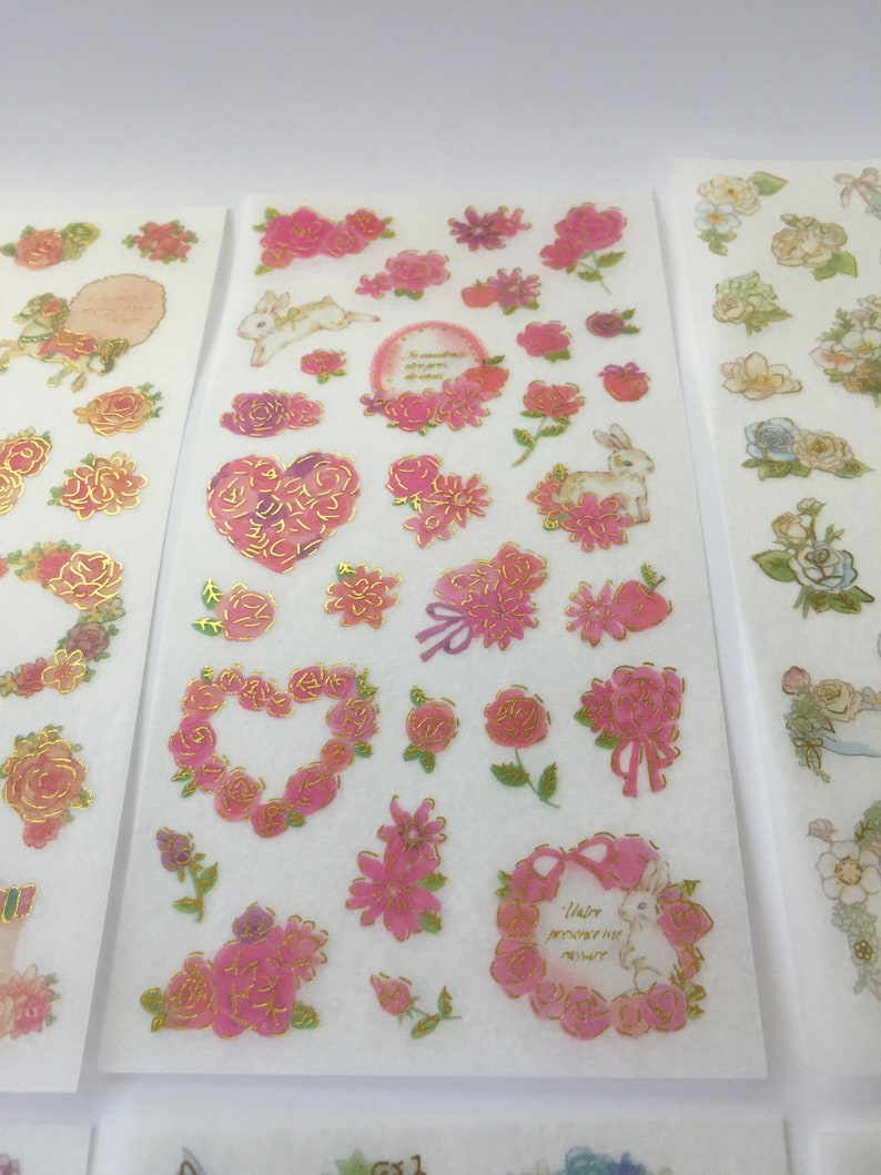 6 SheetsPack Gold Foil Flower and Animal Stickers