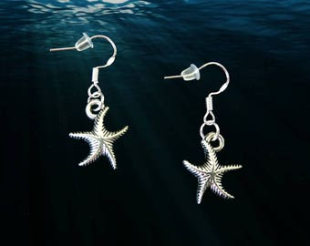 Starfish Earrings..Starfish Earrings Silver..Starfish Earrings Dangle..Beach Earrings..Ocean Earrings..Nautical Earrings..Summer Earrings