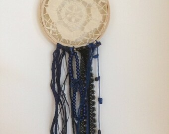 Handmade macrame and Navy Blue dream catcher