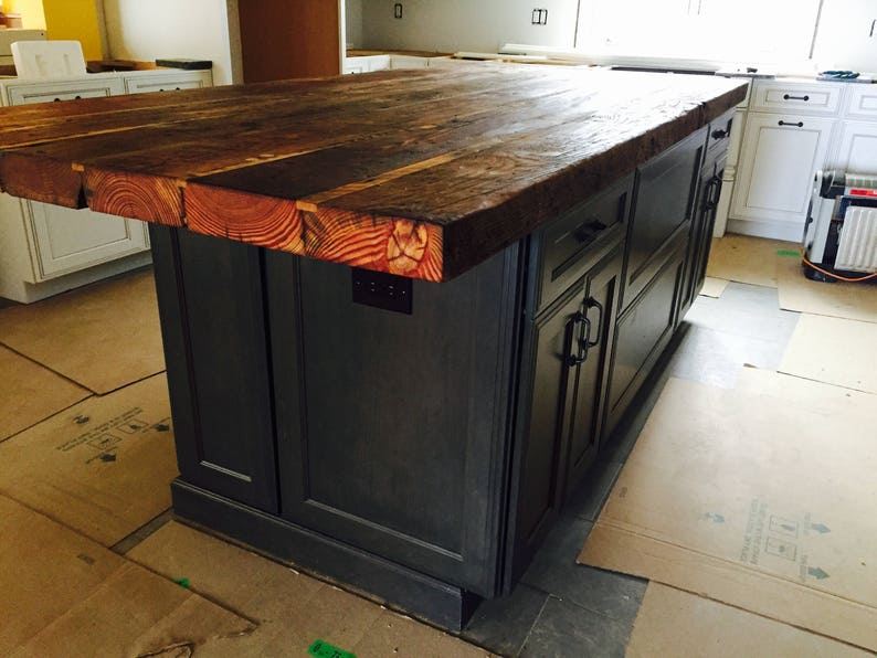 Custom Kitchen island countertop countertop Rustic butcher block countertop  Counter height table Reclaimed wood countertop Pinewood