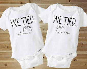 Twin Onesies - Funny Onesies - Funny Baby Onesies - We Tied - Cute Baby Onesie - Baby Boy - Baby Girl - New Baby Gift - Twin Baby Gift