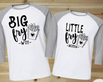 818bff00e Personalized Father and Son Matching Shirts, Him and Her Shirt Set Big Fry,  Little Fry, Father and Son Shirts, Brother and Sister Matching