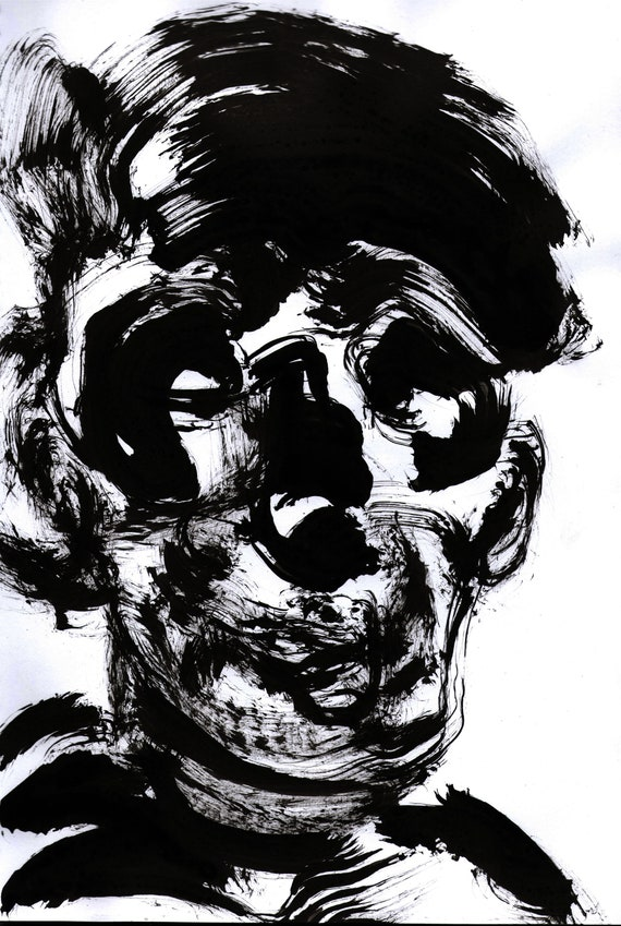 Strange Art Bizarre Portrait Obscure Drawing Gothic Draw Sad Man Gothic Sketchbook Original Sumi