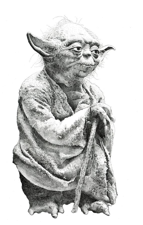 Yoda Star Wars Jedi-Meister Punkt Zeichnung Lichtschwert Kunst