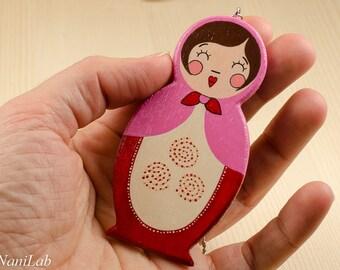 Matryoshka necklace, hand painted wooden pendant, hand painted necklace, wooden necklace, doll necklace