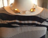 Custom L Couture set Frosted Quartz and oval pewter bead necklace with Navy and Cream Tunic Large 1035