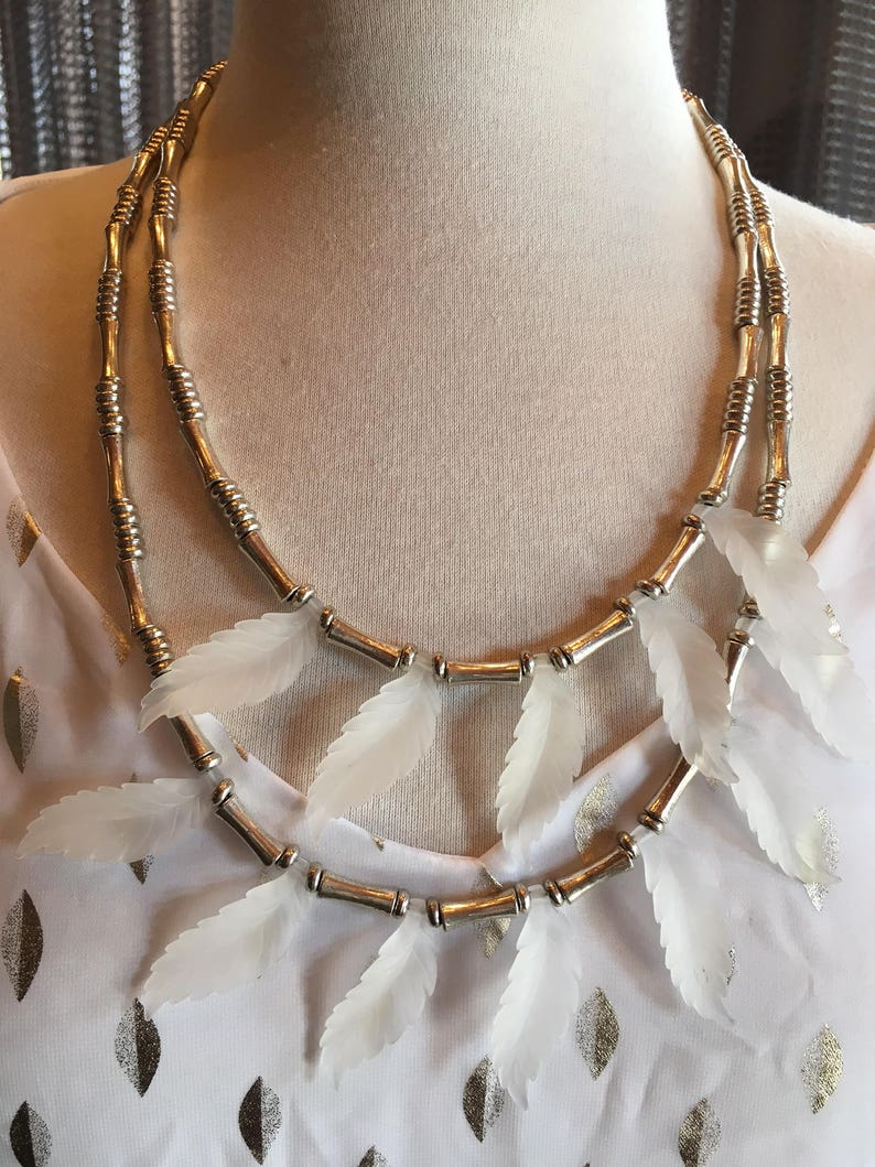 Custom S Couture set Silver and white leaf necklace with sheer silver and white flowing tunic Small 1086