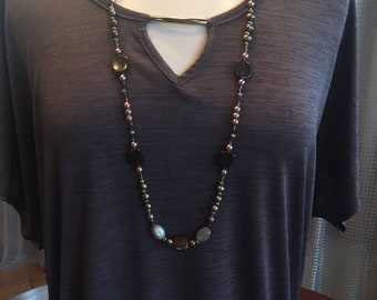 Custom Couture 1X dark taupe tshirt with keyhole and long taupe beaded necklace 1402