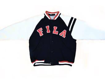FILA/ Red White Blue /Mens Parka/  Ski Puffer /Color Block Jacket SZ XL Vtg