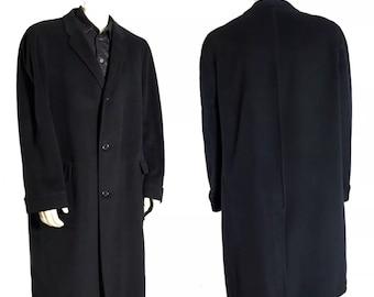 Vtg Neiman Marcus Mens  Black Cashmere Over Coat Size 44 Single Breasted