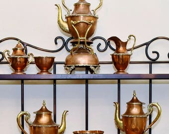 Vintage South American 10 Piece Copper and Brass Tea / Coffee Set