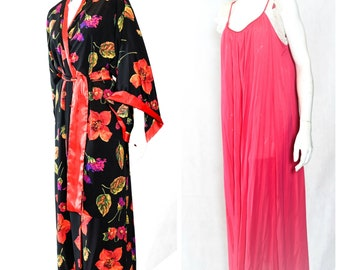 Vintage Natori /Red and Black /Kimono /Long Sleeve /Floral /Robe (L) with Luci Ann /Gown (M-L) Lingerie