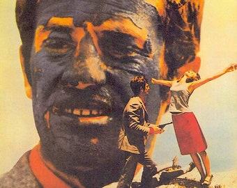 Pierrot Le Fou (A) | 60s French Cinema, Jean-Paul Belmondo, Anna Karina | 1998 print | vintage Japanese chirashi film poster