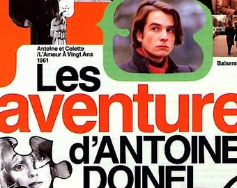 Adventures of Antoine Doinel | 60-70s French Classic, Jean-Pierre Léaud, François Truffaut | 1996 print | Japanese chirashi film poster
