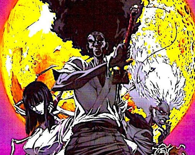 Afro Samurai: Resurrection | Japan Anime, Fuminori Kizaki | 2009 original print | Japanese chirashi film poster