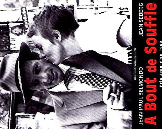 Breathless + L'Atalante   60s French Cinema, Jean-Luc Godard, Jean Vigo   1998 print   vintage Japanese chirashi film poster