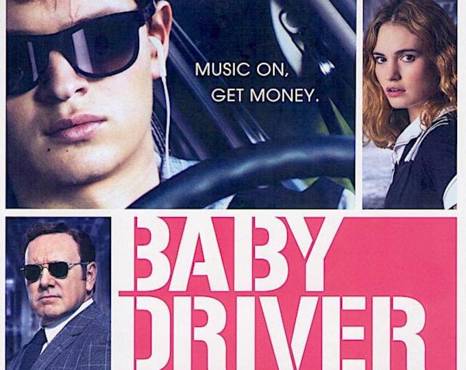 Baby Driver | US Cinema, Ansel Elgort, Lily James | 2017 original print | Japanese chirashi film poster