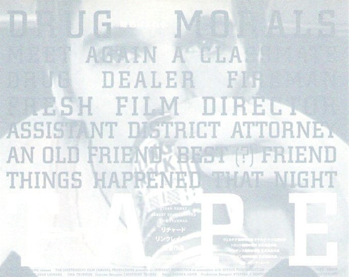 Tape (B) | Ethan Hawke, Uma Thurman, Robert Sean Leonard | 2003 original print | Japanese chirashi film poster