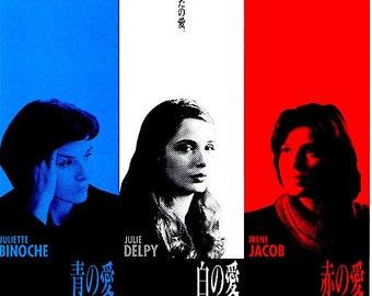 Three Colours | 90s European Classic | Julie Delpy, Juliette Binoche, Irene Jacob | 1994 print | vintage Japanese chirashi film poster