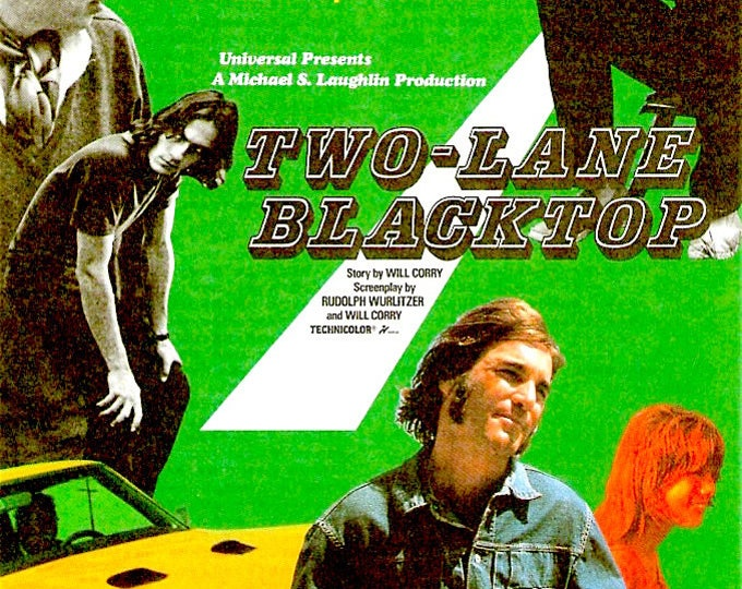 Two-Lane Blacktop (A) | 70s Cult Classic, Monte Hellman, Warren Oates | 1995 print | vintage Japanese chirashi film poster