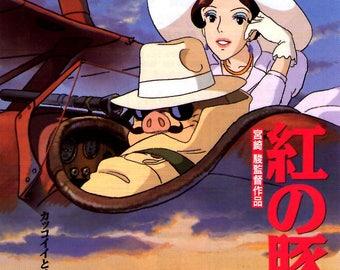 Porco Rosso | 90s Studio Ghibli Anime | 1992 original print | vintage Japanese chirashi film poster
