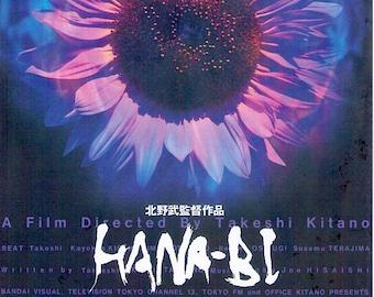Hana-bi (B)   90s Japan Cinema, Takeshi Kitano   1997 original print   vintage Japanese chirashi film poster