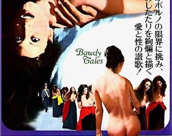 Bawdy Tales | 70s Italian Cinema, Ninetto Davoli, Franco Citti | 1974 original print | vintage Japanese chirashi film poster