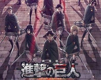 Attack on Titan (4 ver) | Japan Anime Series | 2014-8 original print | Japanese chirashi film poster