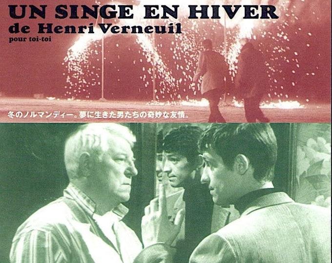 Un Singe en Hiver | 60s French Cinema, Jean Gabin, Jean-Paul Belmondo | 1996 print | vintage Japanese chirashi film poster