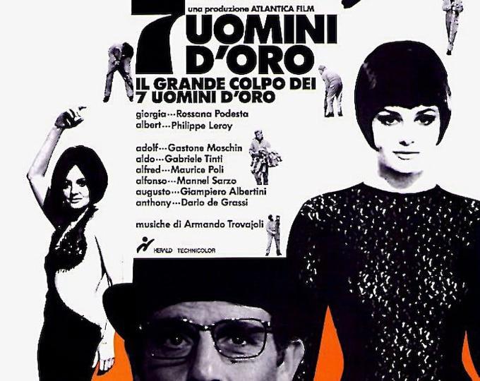 Seven Golden Men | 60s Italian Classic, Rossana Podesta, Marco Vicario | 1994 print | vintage Japanese chirashi film poster