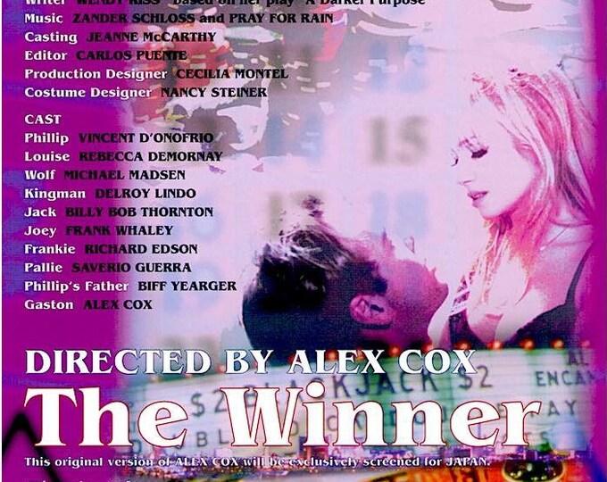 The Winner | 90s Cinema, Alex Cox, Rebecca De Mornay | 1998 original print | vintage Japanese chirashi film poster