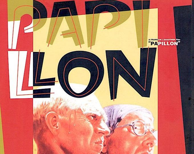Papillon   70s Classic Cinema, Steve McQueen, Dustin Hoffman   1995 print   vintage Japanese chirashi film poster