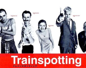 Trainspotting (B) | 90s Cult British Film, Ewan McGregor, Robert Carlyle | 1996 original print | vintage Japanese chirashi film poster