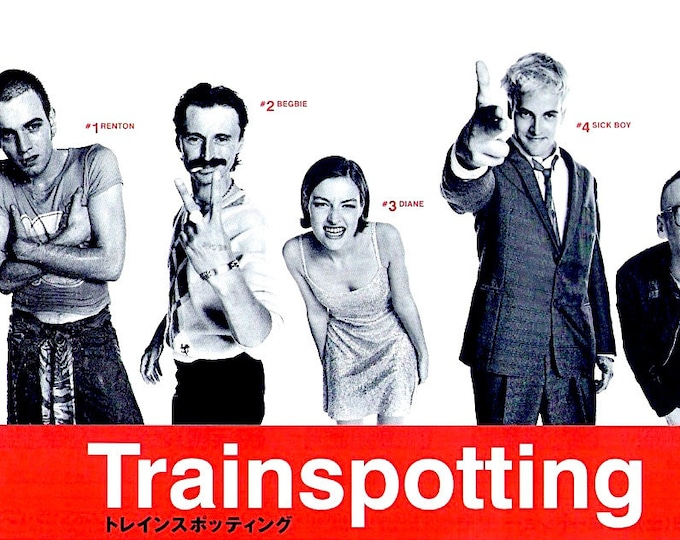 Trainspotting (B) | 90s Cult British Film, Ewan McGregor, Robert Carlyle | 1996 original print | vintage Japanese chirashi film poster
