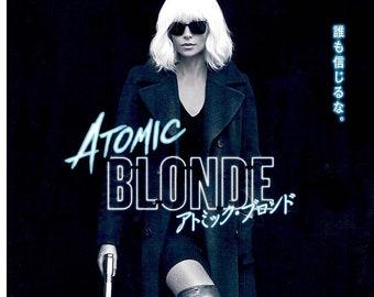 Atomic Blonde | Spy Action Film, Charlize Theron  | 2017 original print | Japanese chirashi film poster