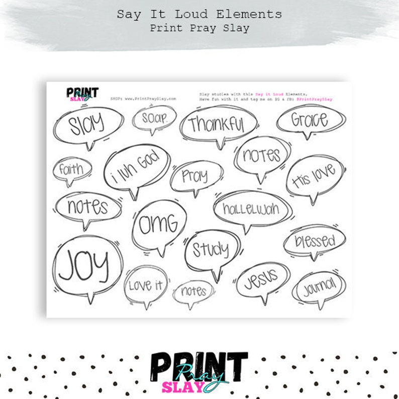 Say It Loud Speech Bubbles for Bible Journaling Printable Stickers Bible  Journaling Stickers #4