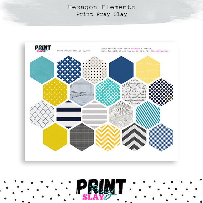 picture about Printable Hexagons identify Hexagons for Bible Journaling Printable Hexagon Stickers Bible Journaling Stickers Gold Yellow Grey Black White Blue Armed forces Blue Printables