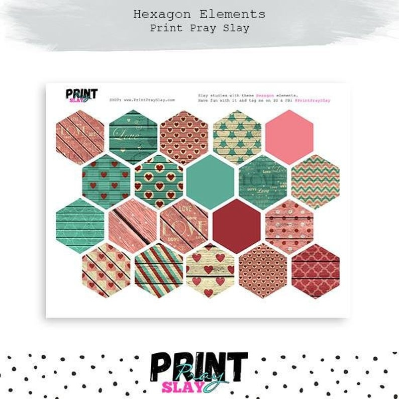 graphic about Printable Hexagons known as Vday Wooden Hexagons for Bible Journaling Printable Hexagon Stickers Bible Journaling Stickers Gold Printables Hearts