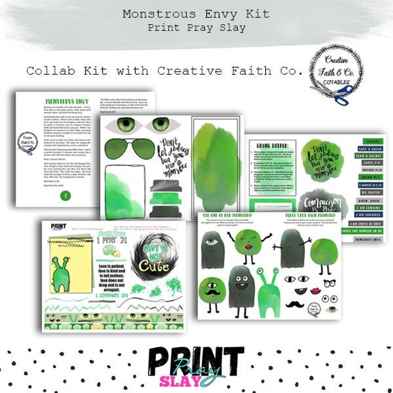 Monstrous Envy Collab bible journaling printables and faith planning  Elements page - 1 page included only