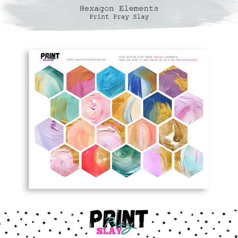 picture regarding Printable Hexagons named Acrylic Hexagons for Bible Journaling Printable Hexagon Stickers Bible Journaling Stickers Gold Printables