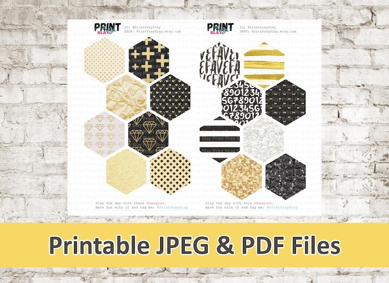 Hexagon decor Bible Journaling Printable Hexagon Stickers - Bible  Journaling Stickers - Gold Yellow Gray Black White Printable Hexagons