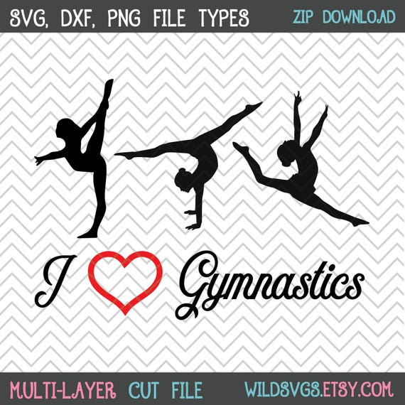 I Heart Gymnastics Svgs 2 Versions Gymnastics Svg Etsy
